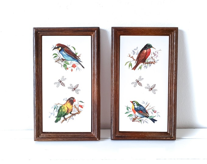 Vintage decorative tiles bird in wooden frame (set of 2) • wall hanging • home decor accents • eclectic rustic nature wall decoration