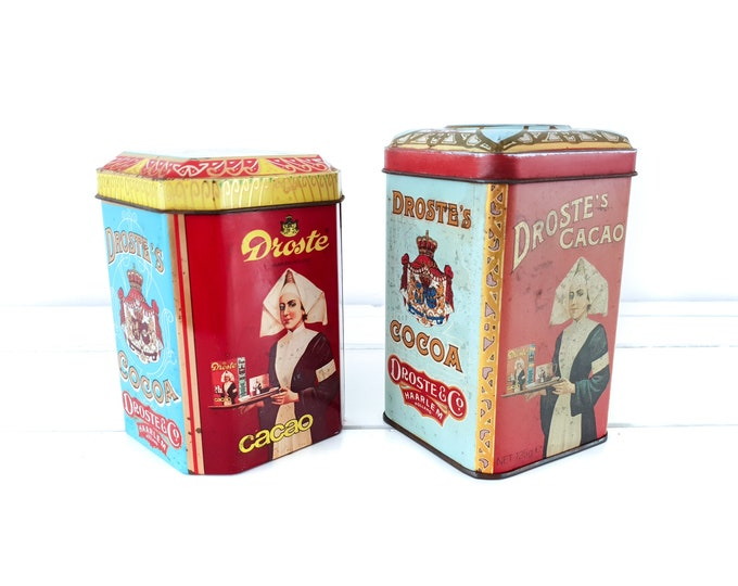 Old tin can Droste Cocoa • vintage canister nurse • storage tin • Dutch vintage tin box • old collectible tins • gift for nurse #2