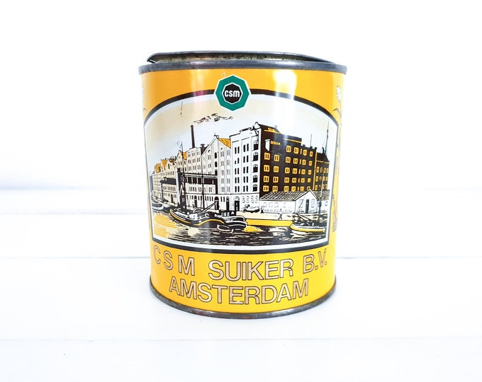 Awesome industrial round sugar cannister CSM Sugar B.V. Amsterdam • Wester Sugar syrup tin • industrial advertising tin • collectible cans