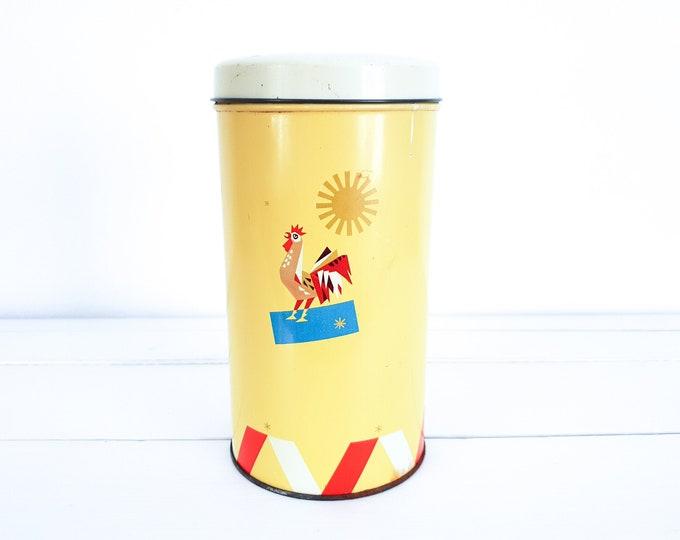 Retro yellow round tin Farm • old kitchen cannister • vintage tin can • kitchen storage tin • farmhouse decoration