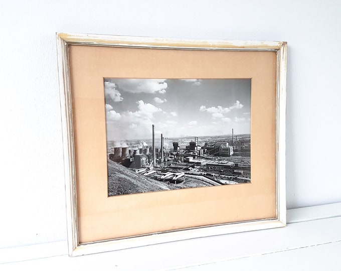 Vintage industrial black and white photo framed • old industrial factory photo • industrial interior • industrial wall decoration