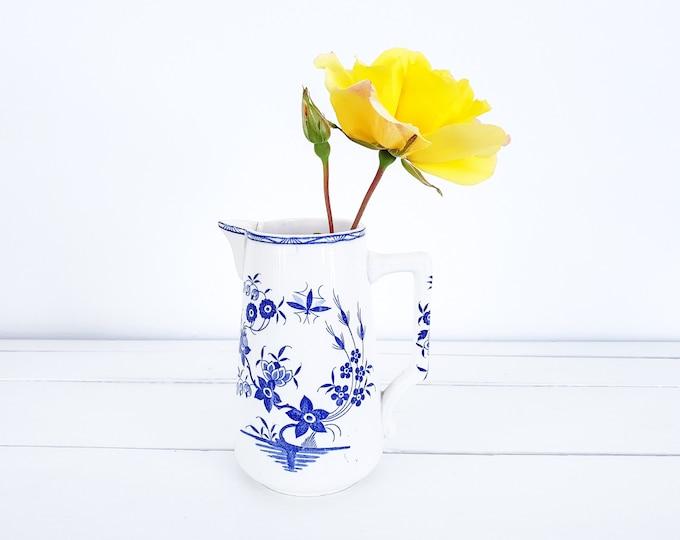 Vintage porcelain milk jug Bouquet • small porcelain pitcher Boch Belgium • country kitchen • decor in blue