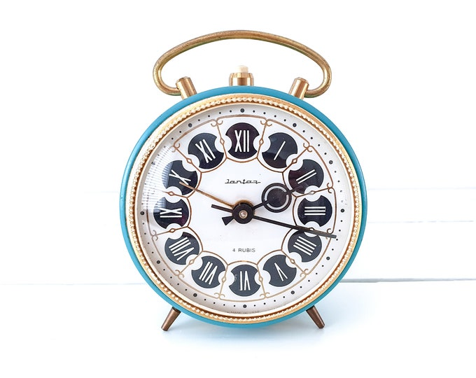 Vintage alarm clock Jantaz USSR • windup alarm clocks • decorative clock • desk clock • vintage bedroom accessories • collectors clock