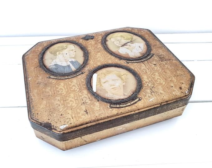 Antique biscuit tin Cote D'or portraits royal children Belgium • antique biscuit tin monarchy • tin boxe • Royal family • Jos Damien painter