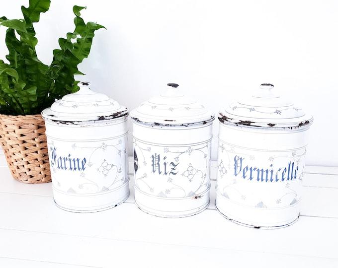 French enamel storage jar blue saxony • vintage saks blue enamelware • storage jar with lid • white enamel