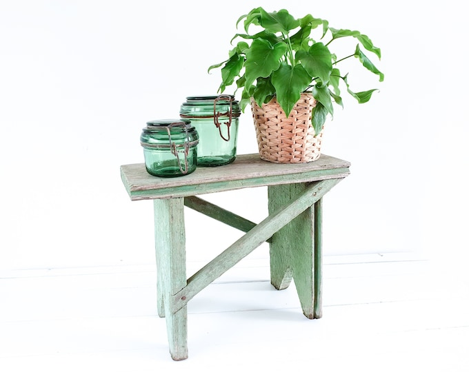 Awesome wooden stool with chippy worn paint • small vintage furniture • plant table • small bench • rustic farmhouse