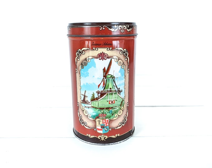 Vintage round cookie tin Zaanse Schans Holland • old vintage tin Dutch houses windmills • old canister •  kitchen accents • typical Dutch
