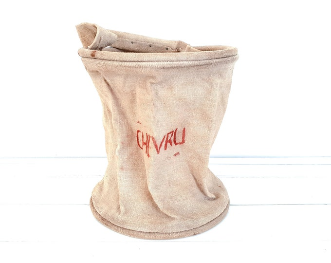 Antique French fire brigade water bag canvas Chevru • foldable fire bucket with handle • firefighting artifacts • industrial home decor