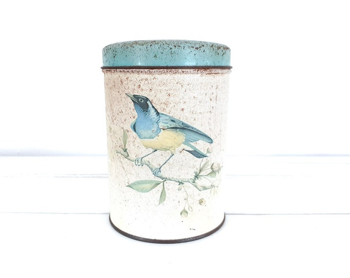 Vintage tin canister bluebird and flowers • old Dutch tin De Gruyter • advertising tins • flora and fauna home accents • collector tins