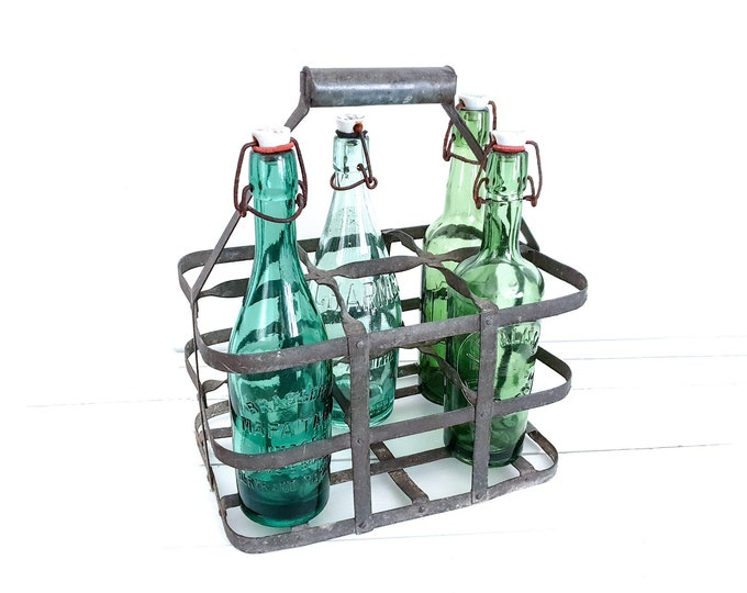 Old French metal bottle rack • metal bottle carrier 6 bottles • vintage wine rack • bottle crate • rustic bottle rack