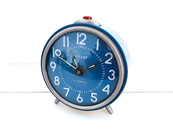 Vintage VitJaz 4 jewels alarm clock blue • Jaz alarm clocks • decoration clocks • home decoration accents blue • collectible alarm clock