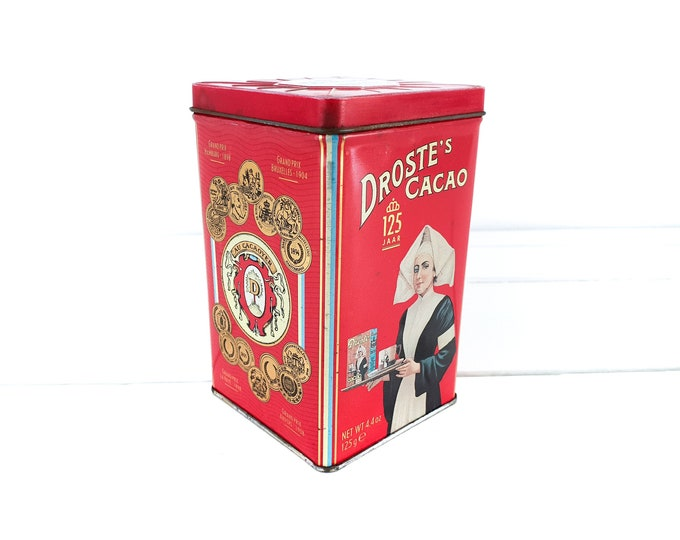 Old tin can Droste Cocoa 125 year anniversary • vintage canister nurse • storage tin • Dutch vintage tin box • old collectible tins