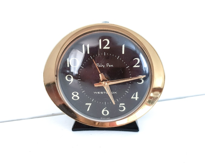 Vintage Baby Ben Westclox alarm clock • windup clock • 1970's home decor • Baby Ben alarm clock • desktop clock
