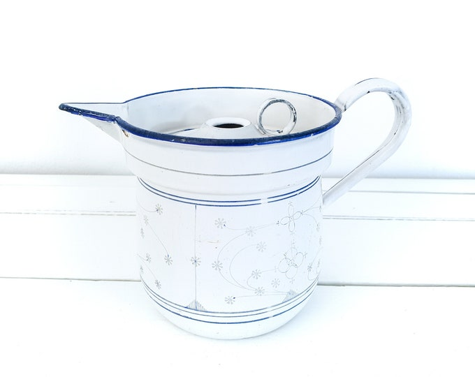 Vintage Saks blue enamel milk cooker with lid • old milk boiler • rustic farmhouse decoration • old pots and pans • granny's kitchenware