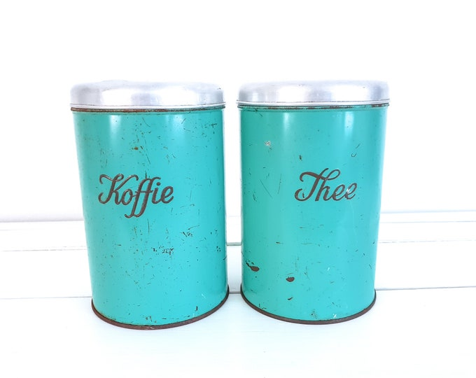 Vintage turquoise kitchen canister set with lid • old kitchen container set • shabby chic kitchen decor • kitchen storage jars