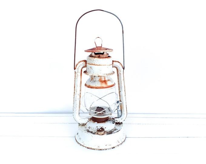 Vintage large white metal storm lantern • rusted hurrican lantern • industrial kerosene lamp • farmhouse home decor accents • cottage decor