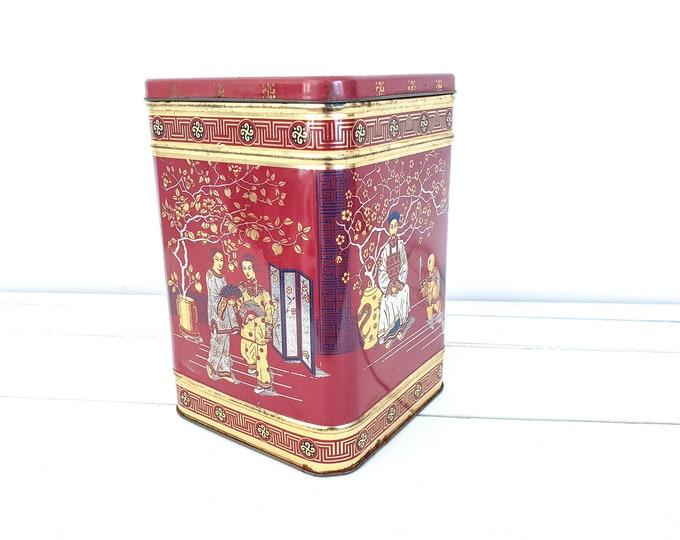 Large vintage square chinese tea caddy • Chinese tea tin • oriental style tea caddy • tea box • English tea caddies