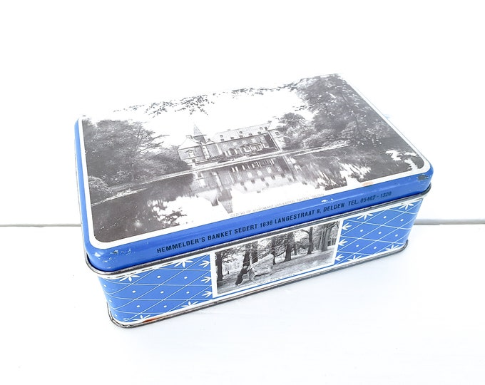 Vintage tin Delden Overijssel • old cookie tin • historic Dutch castle Twickel • Dutch vintage • tin collection