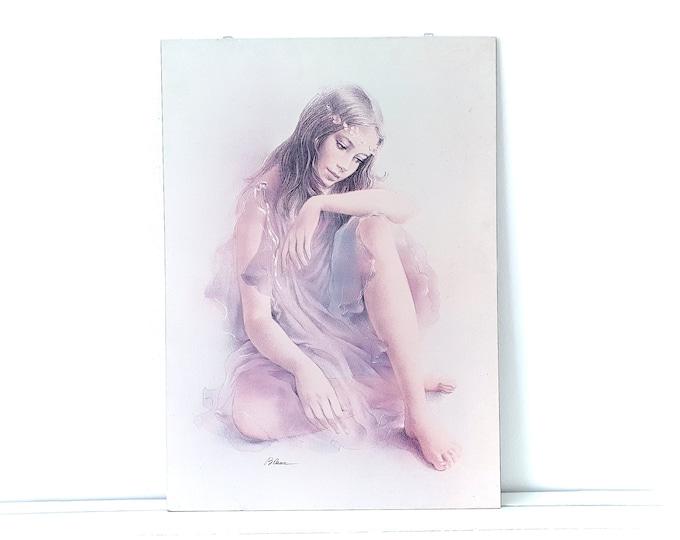 Vintage poster ballerina on wood signed by Blanc • ballet danser • soft tones • nursery wall decoration • vintage ballet poster
