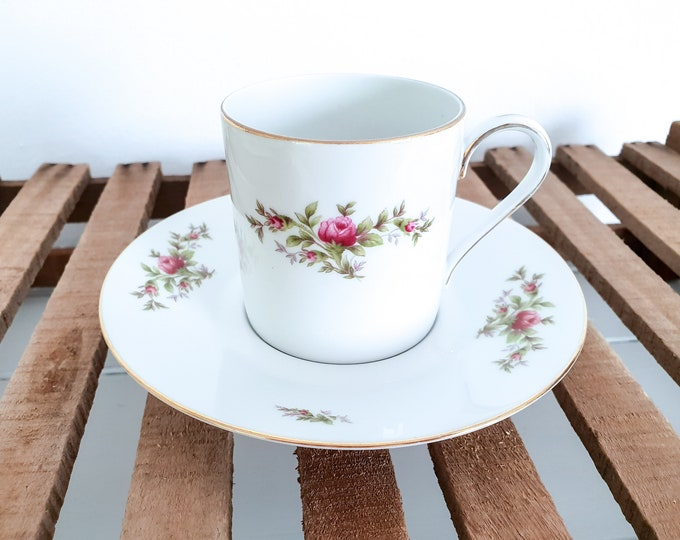 Vintage teacup and saucer roses • rose porcelain teacup • antique tableware • tea cup with red rose • Rosenthal Germany