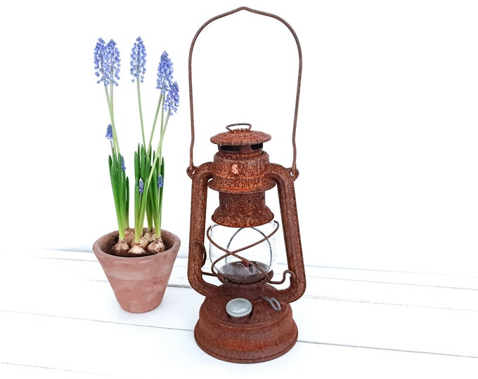 Vintage industrial storm lamp Feuerhand • rustic rusted lantern • old oil lamp • industrial home accessories • wedding decoration