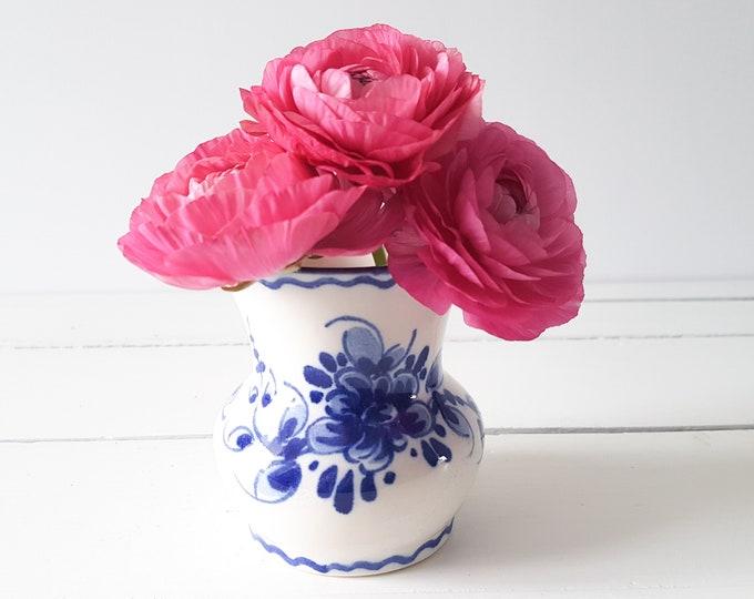 Unique hand painted vase 'Zenith Gouda' * vintage Delft Blue * Dutch * farmhouse decor * flower vase
