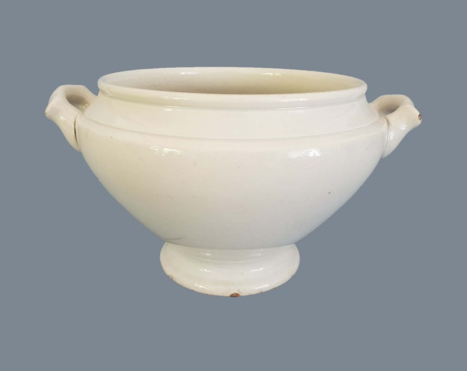 French vintage white tureen • serving dish • white farmhouse tableware • soup tureen centerpiece • shabby chic • white farmhouse decor # 5