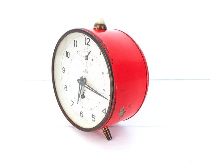 Antique alarm clock red Lumen Western Germany • vintage collectable alarm clocks • red home decoration • mechanical alarm clock