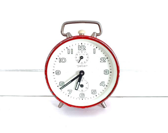 Vintage alarm clock Peter red • decoration alarm clocks • German Peter clock • desk clock • vintage bedroom accessories • collectors clock