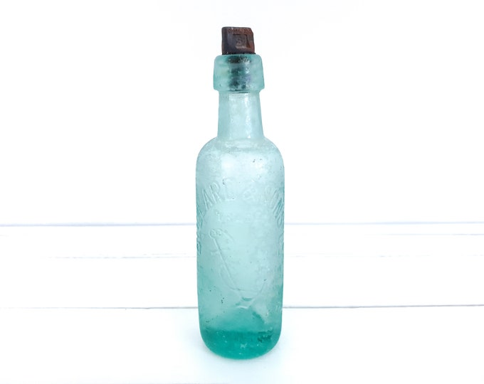 Vintage bottle BULLARD & SONS brewery Norwich • anchor trademark • antique pale green glass bottle bakelite screw top