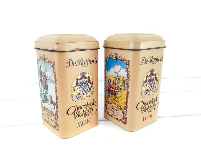 Vintage Dutch tin chocolate sprinkles De Ruijter • old vintage tins • Dutch traditional childhood memory • kitchen storage accents