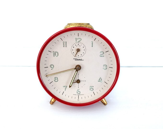 Retro alarm clock red and gold Diehl Germany • vintage collectable alarm clocks • red home accents • home office decor • bedroom decoration