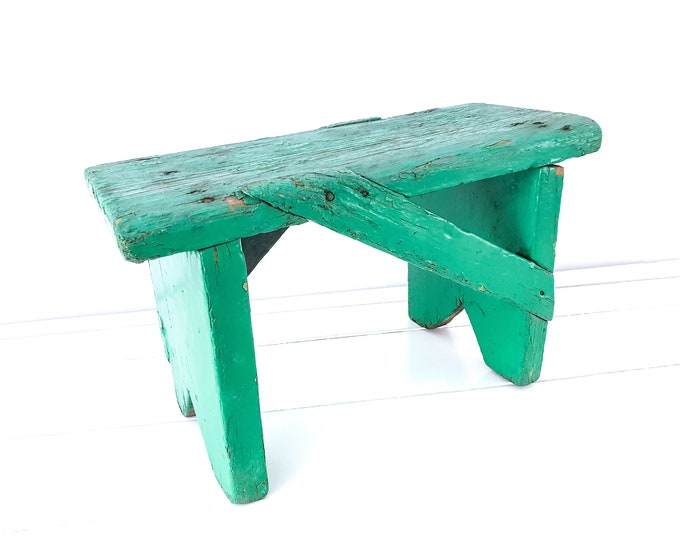 Vintage French stool green chippy paint • small vintage furniture • rustic farmhouse wooden bench • step stool • vintage small furniture