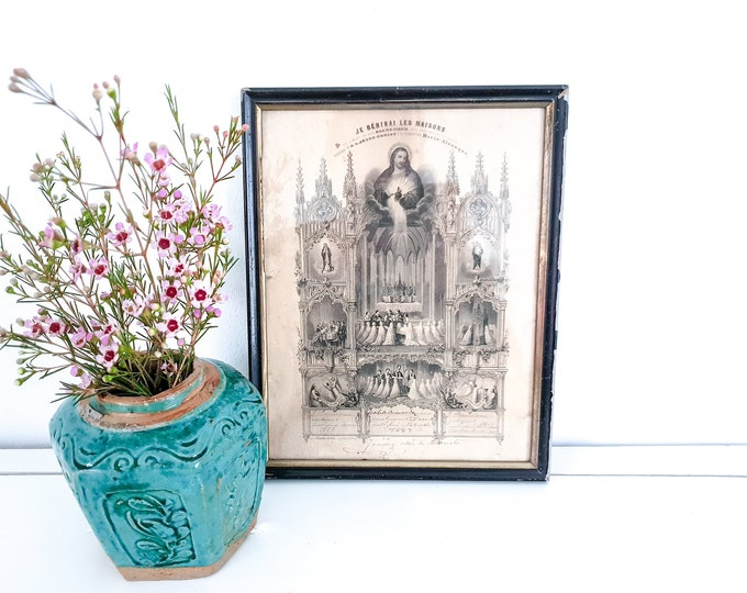 Old French framed religious document • old certificate in frame • religious documents • religion wall decoration • 18th century