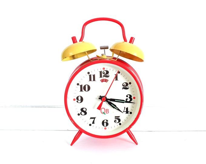 Retro alarm clock double bell QB red yellow • old alarm clocks • retro home decoration • children's bedroom decor • decorative clock