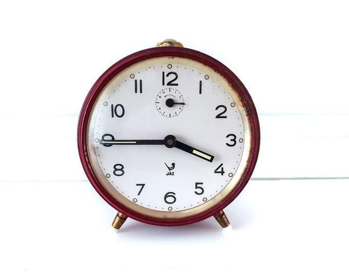 Vintage Jaz alarm clock burgundy red golden accents • old French Jaz alarm clocks • decorative clocks • desk clock • collectible alarm clock