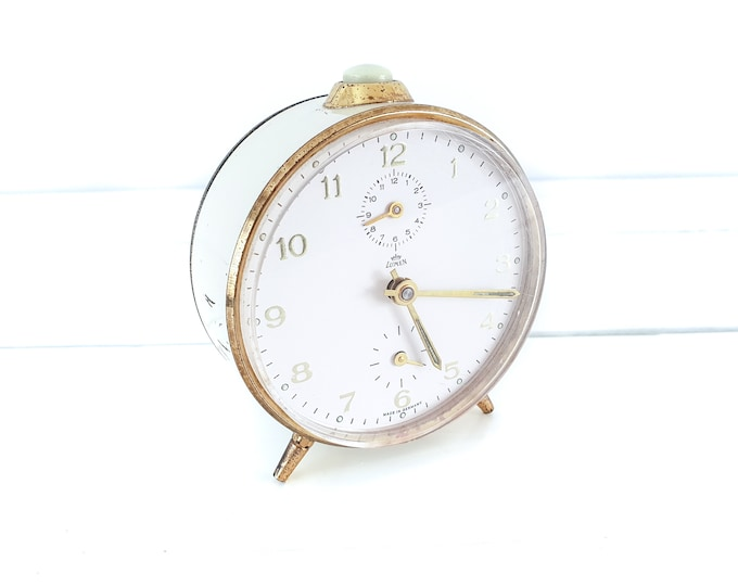 Antique alarm clock beige and gold Lumen Western Germany • vintage collectable alarm clock • home office decor gold • mechanical alarm clock