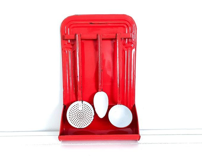 Vintage enamel kitchen utensil rack red white and gold • enamal rack with drip tray • utensil holder • kitchen drip rack • red enamelware