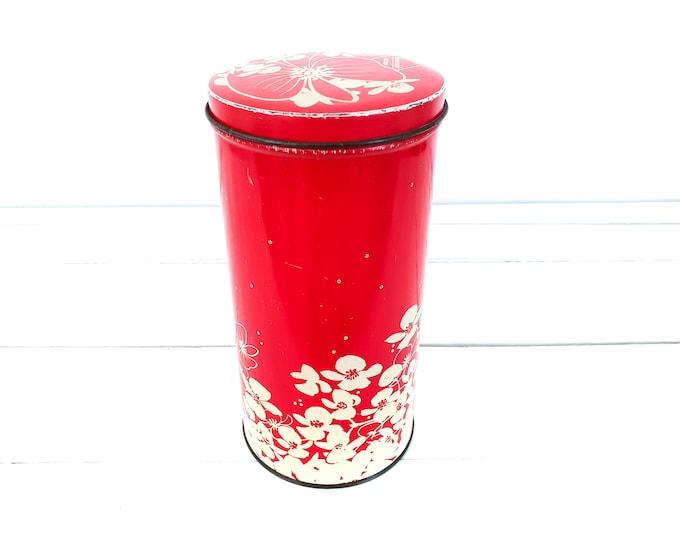 Vintage round Dutch rusk tin red flowers • old storage tins flower pattern • retro storage cans • kitchen storage • red kitchen accents