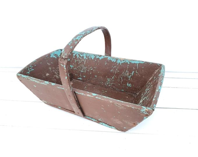 Vintage French little grape harvest trug with wooden handle • vintage wooden harvest basket • garden picking basket • trug rectangular