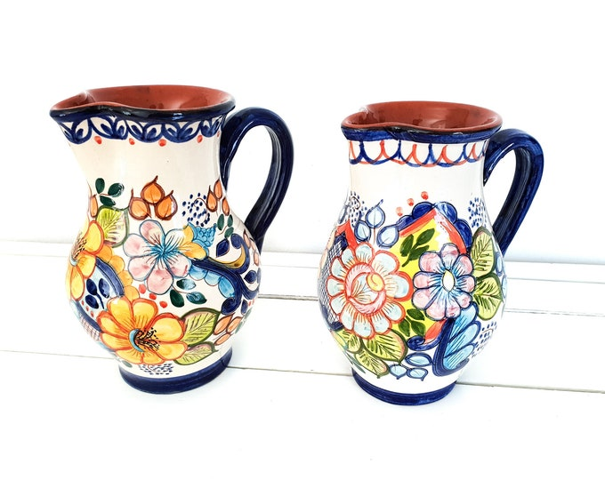 Traditional Portuguese hand-painted ceramic water pitcher flowers • pottery jug • Portuguese pottery • Carrilho Lopes S Pedro do Corval