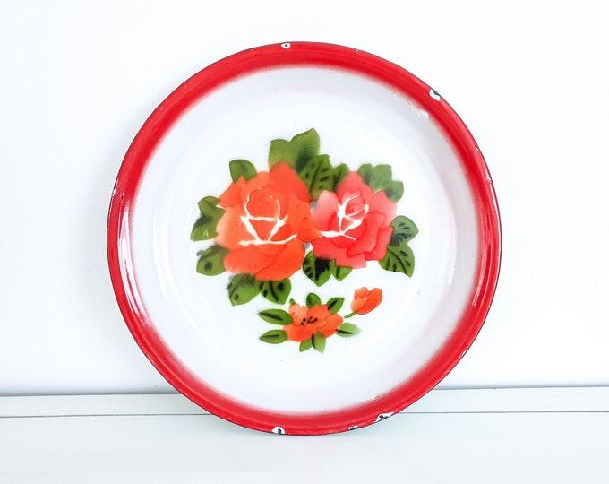 Vintage enamelware serving tray roses • golden rhinoceros enamel • large enamel serving tray