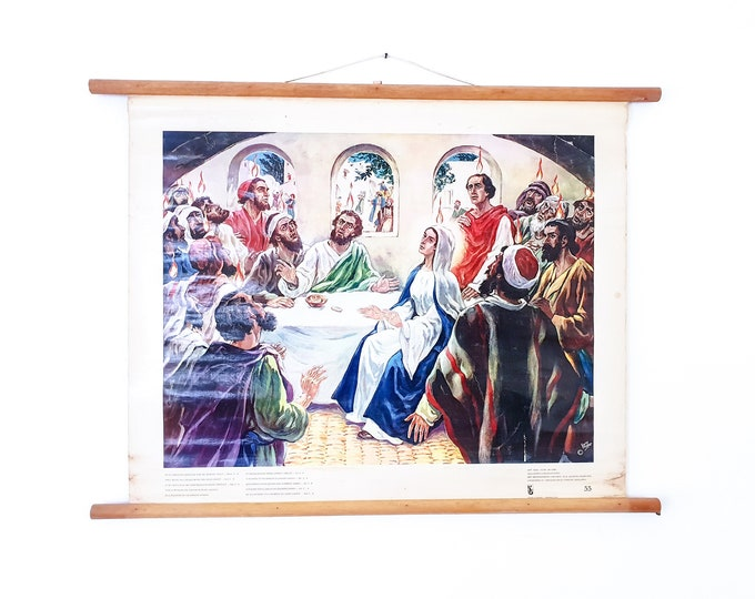 Old linen school chart • biblical painting • religious wall decoration • They where all filled with the holy ghost - Acts 2:4