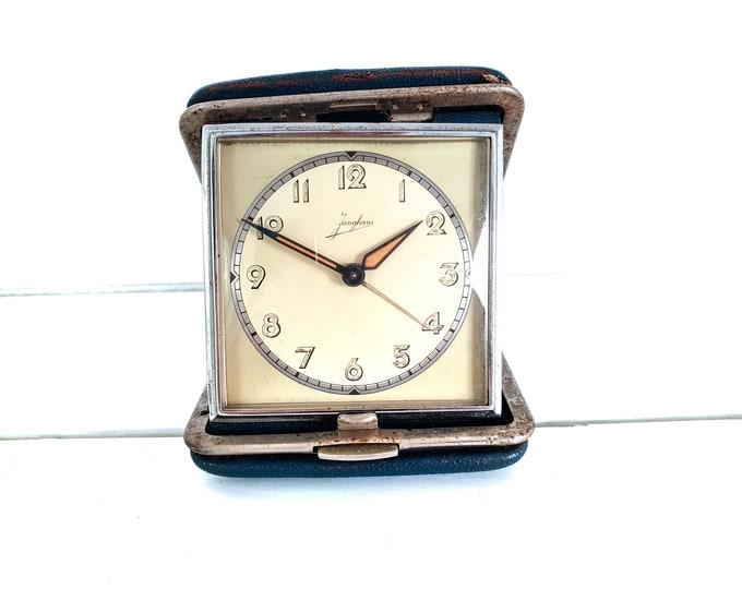 Vintage folding travel alarm clock by Junghans Germany • old blue silver travel timer • decorative alarm clock • bedroom decoration