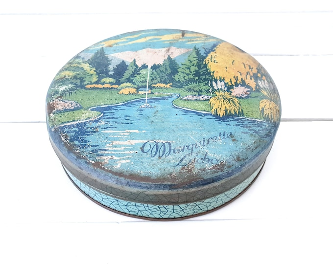 Vintage round cookie tin Marguirette Litcho • biscuit tin with landscape • old tin boxes • industrial home decoration • round tin canister