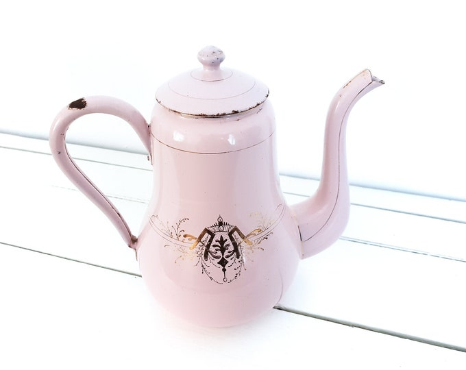 Unique antique French pink and gold enamel coffee pot • pink vintage enamelware • hand painted granite coffee pot • shabby chic