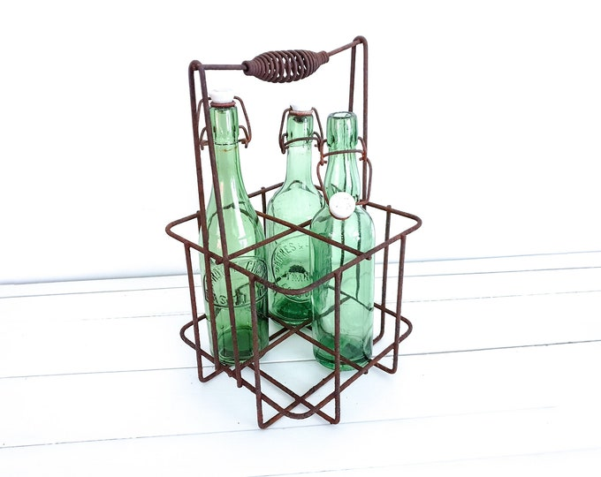 Old French metal bottle rack • metal bottle carrier 4 bottles • vintage wine rack • bottle crate • rustic bottle rack