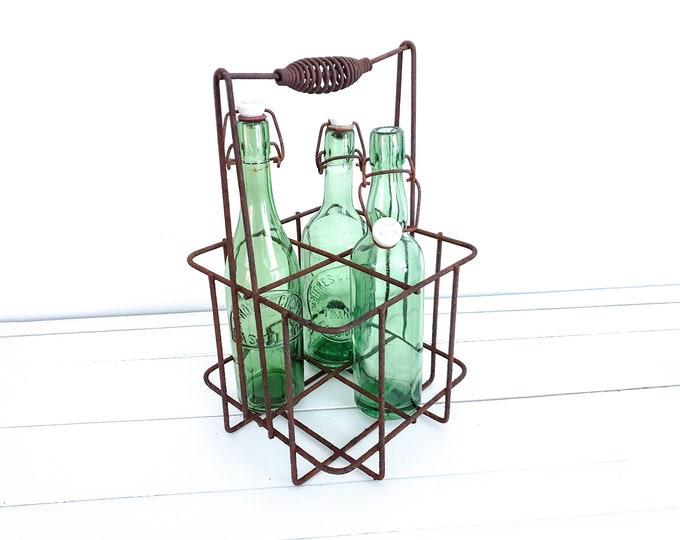 Old French metal bottle rack • metal bottle carrier 4 bottles • vintage wine rack • bottle crate • rustic bottle rack