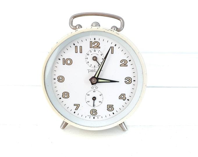 Vintage alarm clock Peter beige • windup alarm clocks • German Peter clock • desk clock • vintage bedroom accessories • collectors clock