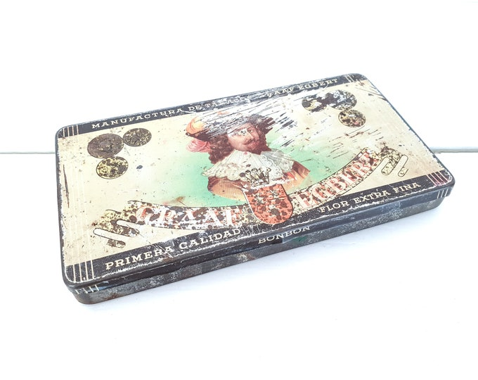 Vintage cigar tin Graaf Egbert Dutch sigars • old tobacco tins • tobacco collectors item • old tin box case • vintage tins